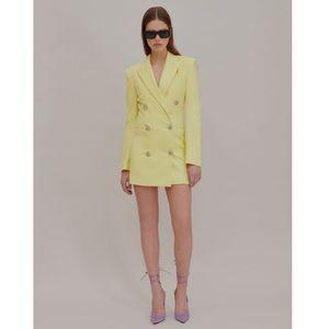 ATTICO Blazer Mini Dress Pale Yellow Bejewelered
